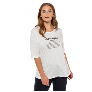 Ulla Popken Damen  T-Shirt, PURE-Statement, Regular, Biobaumwolle, offwhite, Gr. 58/60, Mode in großen Größen