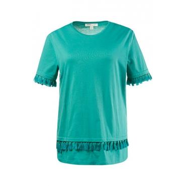 Große Größen Ulla Popken Damen  T-Shirt, Quastenborte, Jersey, reine Biobaumwolle, Grün, Gr. 42/44,46/48,50/52,54/56,58/60