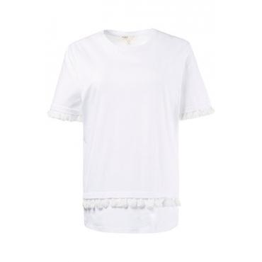 Ulla Popken Damen  T-Shirt, Quastenborte, Jersey, Bio-Baumwolle, weiß, Gr. 58/60, Mode in großen Größen