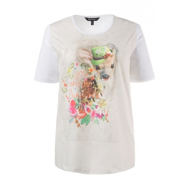 Große Größen Ulla Popken Damen  T-Shirt, Rehkitz, Schriftmotiv, Elasthan, Weiß, Gr. 42/44,54/56,46/48,50/52,58/60,62/64,66/68