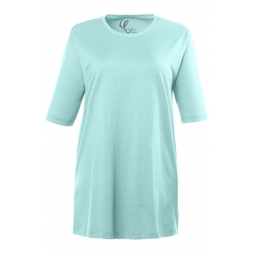 Ulla Popken Damen  Basic-T-Shirt, Rundhalsausschnitt, Relaxed, Baumwolle, atlantikblau, Gr. 58/60, Mode in großen Größen