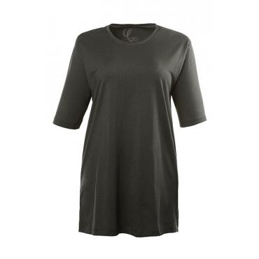 Ulla Popken Damen  Basic-T-Shirt, Rundhalsausschnitt, Relaxed, Baumwolle, dunkelkhaki, Gr. 50/52, Mode in großen Größen