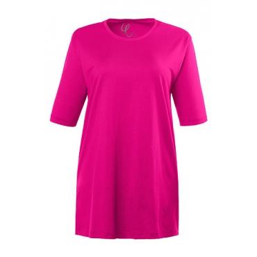 Ulla Popken Damen  Basic-T-Shirt, Rundhalsausschnitt, Relaxed, Baumwolle, beere, Gr. 46/48, Mode in großen Größen