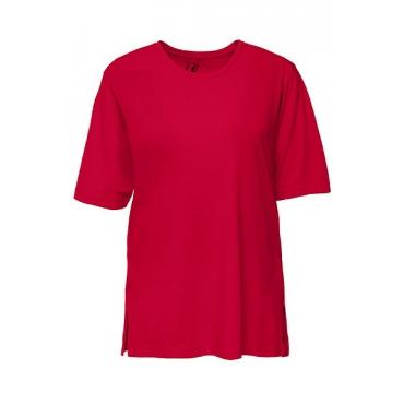 Ulla Popken Damen  Basic-T-Shirt, Rundhalsausschnitt, Relaxed, Baumwolle, mohn, Gr. 58/60, Mode in großen Größen