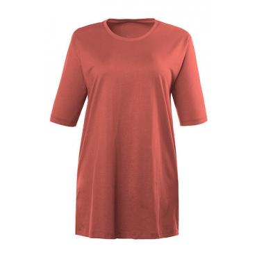 Ulla Popken Damen  Basic-T-Shirt, Rundhalsausschnitt, Relaxed, Baumwolle, rostorange, Gr. 58/60, Mode in großen Größen