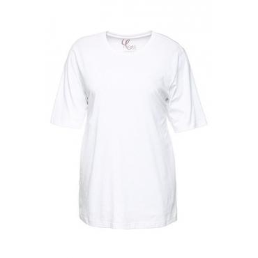 Ulla Popken Damen  Basic-T-Shirt, Rundhalsausschnitt, Relaxed, Baumwolle, weiß, Gr. 58/60, Mode in großen Größen