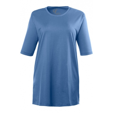 Ulla Popken Damen  Basic-T-Shirt, Rundhalsausschnitt, Relaxed, Baumwolle, poolblau, Gr. 50/52, Mode in großen Größen