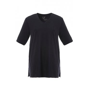 Ulla Popken Damen  Basic-T-Shirt, V-Ausschnitt, Relaxed, Baumwolle, marine, Gr. 58/60, Mode in großen Größen