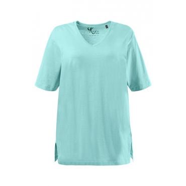 Große Größen Ulla Popken Damen  T-Shirt, Relaxed, Basic, V-Ausschnitt, Öko-Tex 100, Blau, Gr. 42/44,46/48,50/52,54/56,58/60,62/64,66/68