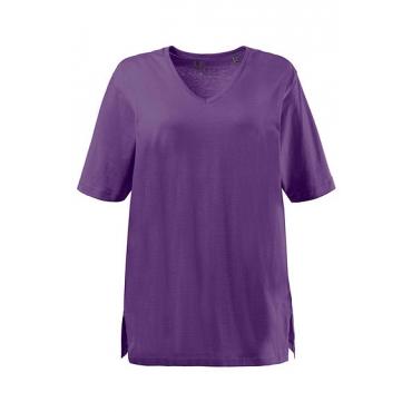 Ulla Popken Damen  Basic-T-Shirt, V-Ausschnitt, Relaxed, Baumwolle, brombeere, Gr. 42/44, Mode in großen Größen