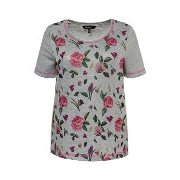 Ulla Popken Damen  T-Shirt, Rosenmuster, Classic, farbige Nähte, Elasthan, hellgrau-melange, Gr. 58/60, Mode in großen Größen