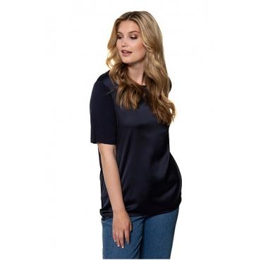 Ulla Popken Damen  T-Shirt, Satin-Vorderseite, Regular, U-Boot-Ausschnitt, marine, Gr. 58/60, Mode in großen Größen