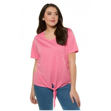 Ulla Popken Damen  T-Shirt, Saumknoten, Relaxed, Flammjersey, lachspink, Gr. 50/52, Mode in großen Größen