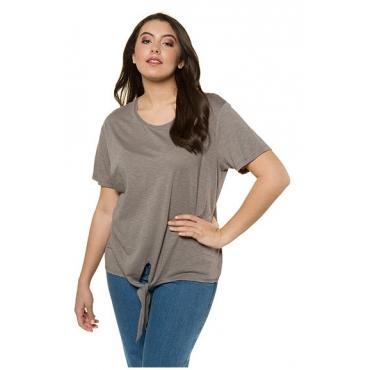 Ulla Popken Damen  T-Shirt, Saumknoten, Relaxed, Flammjersey, steinbraun, Gr. 58/60, Mode in großen Größen