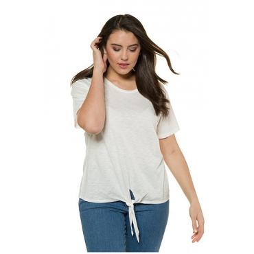 Ulla Popken Damen  T-Shirt, Saumknoten, Relaxed, Flammjersey, offwhite, Gr. 58/60, Mode in großen Größen
