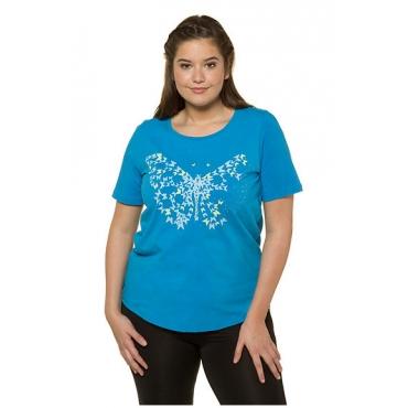 Ulla Popken Damen  T-Shirt, Schmetterlings-Motiv, Classic, Ziersteinchen, brillantblau, Gr. 58/60, Mode in großen Größen
