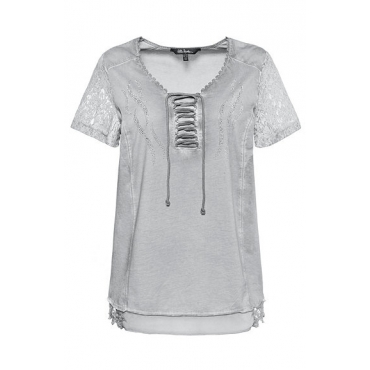 Ulla Popken Damen  T-Shirt, Schnürung, A-Linie, Spitze, Ziersteine, hellgrau, Gr. 58/60, Mode in großen Größen