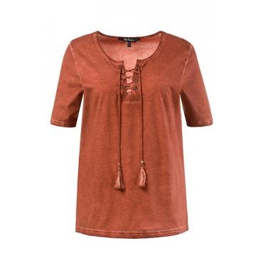 Große Größen Ulla Popken Damen  T-Shirt, Schnürung, Classic, Quasten, cool dyed, Rot, Gr. 42/44,46/48,50/52,54/56,58/60