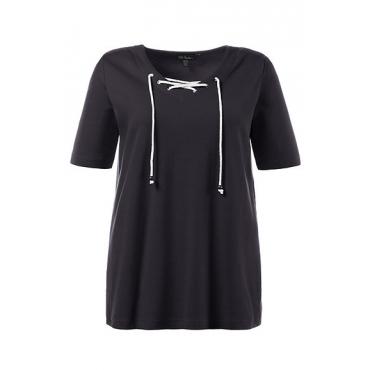 Ulla Popken Damen  T-Shirt, Schnürung, Classic, Rippjersey, marine, Gr. 58/60, Mode in großen Größen