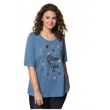 Ulla Popken Damen  T-Shirt, Schriftmotiv, Classic, Metallic-Effekt, Punkte, meeresblau, Gr. 46/48, Mode in großen Größen