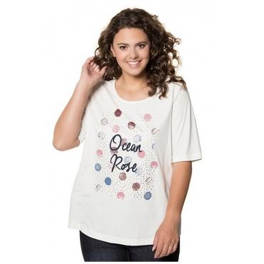Ulla Popken Damen  T-Shirt, Schriftmotiv, Classic, Metallic-Effekt, Punkte, offwhite, Gr. 58/60, Mode in großen Größen