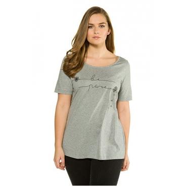 Ulla Popken Damen  T-Shirt, weiter Ausschnitt, Biobaumwolle, hellgrau-melange, Gr. 58/60, Mode in großen Größen