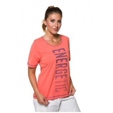 """Ulla Popken Damen  T-Shirt, Schriftmotiv """"Energetic"""", Classic, Stretch, koralle, Gr. 58/60, Mode in großen Größen"""