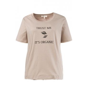 Große Größen Ulla Popken Damen  T-Shirt, Schriftmotiv, offenkantige Abschlüsse, Biobaumwolle, Beige, Gr. 42/44,46/48,50/52,54/56,58/60