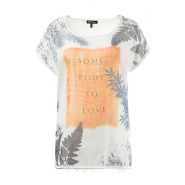 Große Größen Ulla Popken Damen  T-Shirt, Schriftmotiv, Oversized, offenkantiger Ausschnitt, Weiß, Gr. 42/44,46/48,50/52,54/56,58/60,62/64