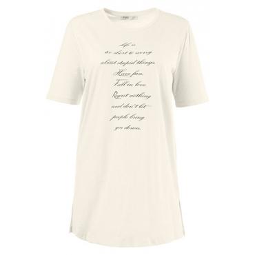 Große Größen Ulla Popken Damen  T-Shirt, Schriftmotiv, Regular, Biobaumwolle, Weiß, Gr. 42/44,46/48,50/52,54/56,58/60