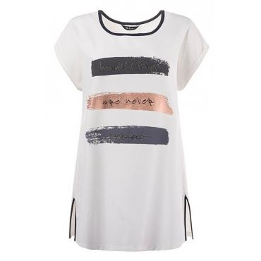 Große Größen Ulla Popken Damen  T-Shirt, Schriftzug, Ziersteine, Paspel, oversized, Weiß, Gr. 42/44,46/48,50/52,54/56