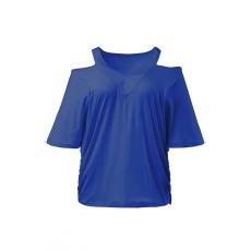 Große Größen Ulla Popken Damen  T-Shirt, Schulter-Ausschnitt, geraffte Seitennaht, Flügel-Halbarm, Blau, Gr. 42/44,46/48,50/52,54/56,58/60,62/64