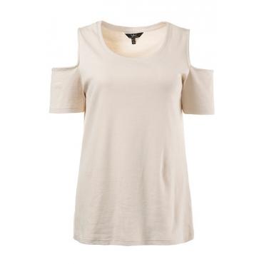 Ulla Popken Damen  T-Shirt, slim, schulterfrei, Rippjersey, Elasthan, elfenbein, Gr. 54/56, Mode in großen Größen
