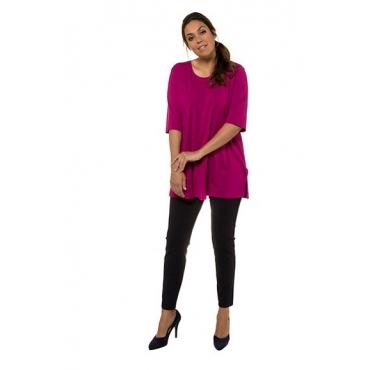 Ulla Popken Damen  T-Shirt, Seitenschlitze, Rundhals, Elasthan, selection, pink, Gr. 58/60, Mode in großen Größen