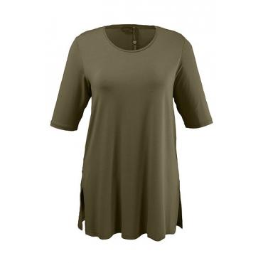 Ulla Popken Damen  T-Shirt, Seitenschlitze, Rundhals, Elasthan, selection, oliv, Gr. 58/60, Mode in großen Größen