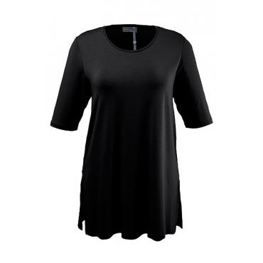 Ulla Popken Damen  T-Shirt, Seitenschlitze, Rundhals, Elasthan, selection, schwarz, Gr. 58/60, Mode in großen Größen