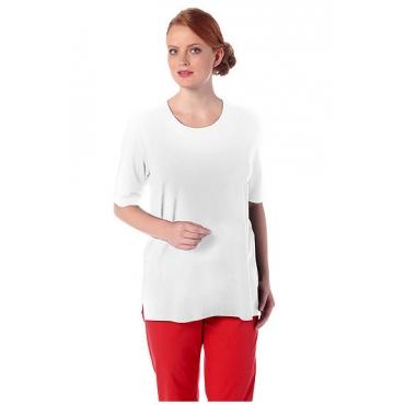 Ulla Popken Damen  T-Shirt, Seitenschlitze, Rundhals, Elasthan, selection, weiß, Gr. 58/60, Mode in großen Größen