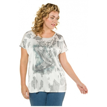 Ulla Popken Damen  T-Shirt, Sneakermotiv, Oversized, Batikmuster, mehrfarbig, Gr. 58/60, Mode in großen Größen