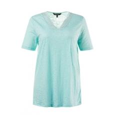 Große Größen Ulla Popken Damen  T-Shirt, Spitze, Classic, V-Ausschnitt, Ausbrennerjersey, Blau, Gr. 42/44,46/48,50/52,54/56,58/60,62/64