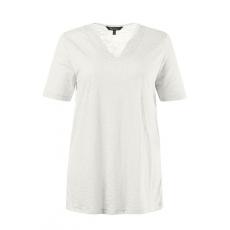 Große Größen Ulla Popken Damen  T-Shirt, Spitze, Classic, V-Ausschnitt, Ausbrennerjersey, Weiß, Gr. 42/44,46/48,50/52,54/56,58/60,62/64