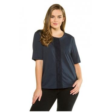Ulla Popken Damen  T-Shirt, Spitzen-Details, Elastiksaum, Biobaumwolle, dunkelblau, Gr. 58/60, Mode in großen Größen