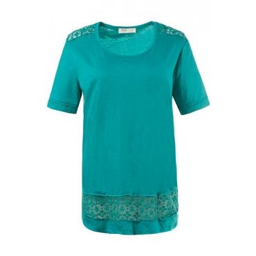 Große Größen Ulla Popken Damen  T-Shirt, Spitzenborten, Flammjersey, Biobaumwolle, Grün, Gr. 46/48,54/56,42/44,50/52,58/60