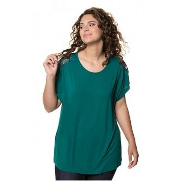 Ulla Popken Damen  T-Shirt, Spitzendetails, Oversized, Elasthan, smaragdgrün, Gr. 54/56, Mode in großen Größen