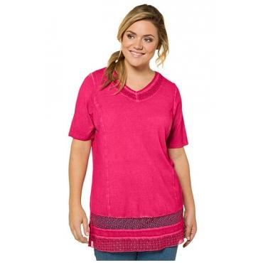 Ulla Popken Damen  T-Shirt, Spitzeneinsatz, A-Linie, Nieten, oil dyed, helles rot, Gr. 54/56, Mode in großen Größen