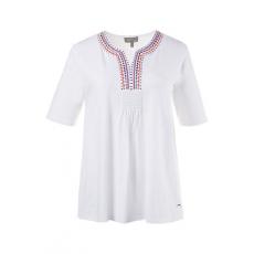 Große Größen Ulla Popken Damen  T-Shirt, Stickerei, A-Linie, gesmokter Ausschnitt, Weiß, Gr. 42/44,46/48,50/52,54/56,58/60