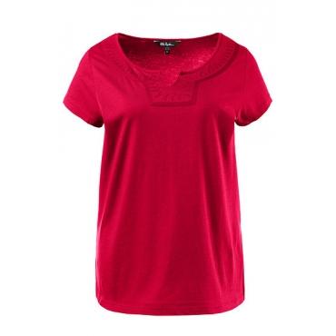 Ulla Popken Damen  T-Shirt, Stickerei, Classic, Tunika-Ausschnitt, mohn, Gr. 58/60, Mode in großen Größen