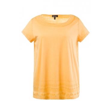 Große Größen Ulla Popken Damen  T-Shirt, Stickerei, Classic, Wascheffekte, Orange, Gr. 42/44,46/48,50/52,54/56,58/60,62/64