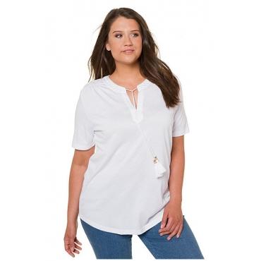 Ulla Popken Damen  T-Shirt, Stickerei, Regular, Bindeband, Tunika-Ausschnitt, weiß, Gr. 58/60, Mode in großen Größen