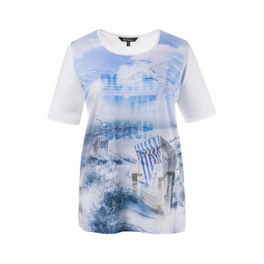 Ulla Popken Damen  T-Shirt, Strandmotiv, Classic, Stretchkomfort, weiß, Gr. 58/60, Mode in großen Größen