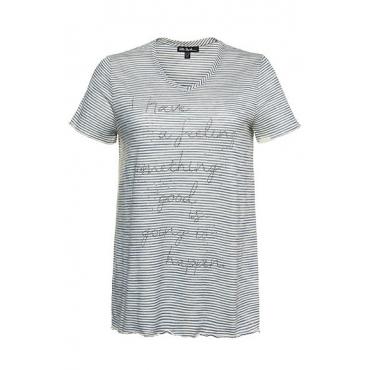 Ulla Popken Damen  T-Shirt, Streifen, Classic, Glitzerstein-Motiv, meeresblau, Gr. 58/60, Mode in großen Größen